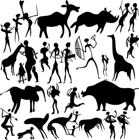 Cave painting on a white background. Vector art-illustration. Illustration