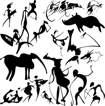 Cave painting on a white background. Vector art-illustration. Stock Vector - 6063696