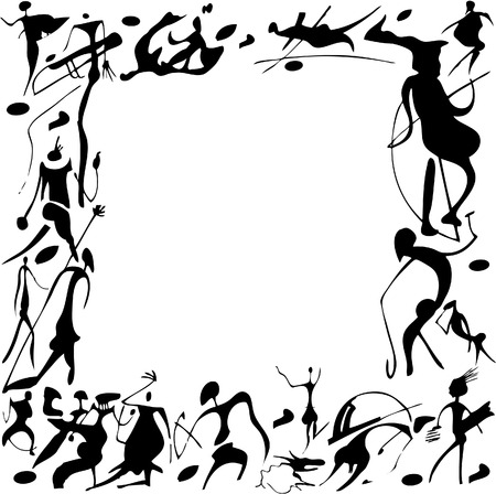 Cave paintings in the form of frames on a white background. Vector art-illustration.