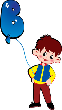 Friendly little boy with balloon in the shape of the letter B on a white background. Vector art-illustration. Vector