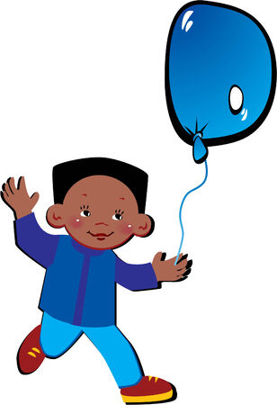 Friendly little boy with balloon in the shape of the letter D on a white background. Vector art-illustration. Vector