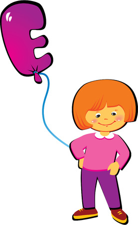 Friendly little girl with balloon in the shape of the letter E on a white background. Vector art-illustration. Vector