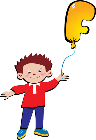 Happy little boy with balloon in the shape of the letter F on a white background. Vector art-illustration. Vector