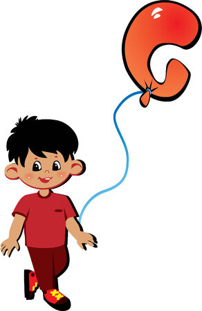Happy little boy with balloon in the shape of the letter G on a white background. Vector art-illustration. Vector