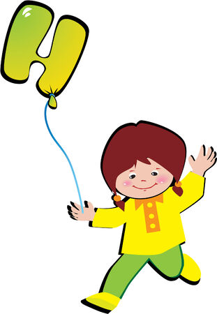 Friendly little girl with balloon in the shape of the letter H on a white background. Vector art-illustration. Illustration