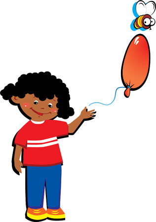 Happy little boy with balloon in the shape of the letter
