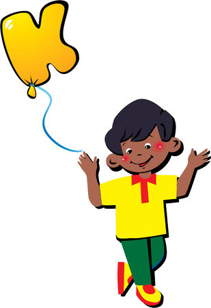Funny little boy with balloon in the shape of the letter K on a white background. Vector art-illustration. Vector