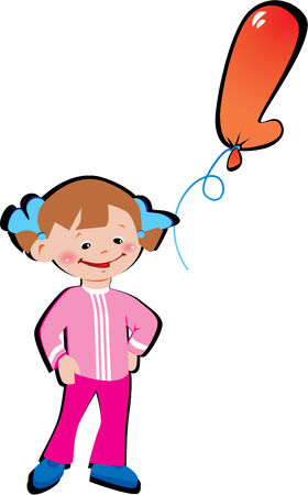 Funny little girl with balloon in the shape of the letter L on a white background. Vector art-illustration. Çizim