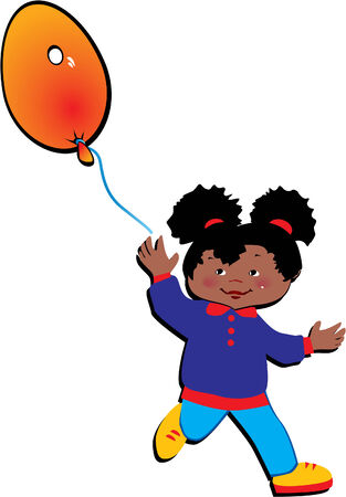 Friendly little girl with balloon in the shape of the letter O on a white background. Vector art-illustration. Vector