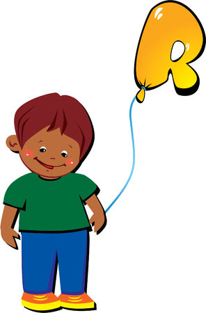 Funny little boy with balloon in the shape of the letter  Vector