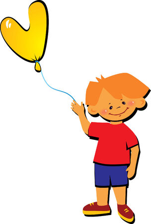 Friendly little boy with balloon in the shape of the letter  Vector