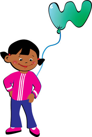 Friendly little girl with balloon in the shape of the letter Stock Vector - 6117708