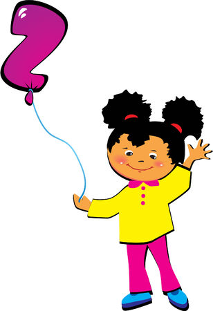 Friendly little girl with balloon in the shape of the letter  Vector