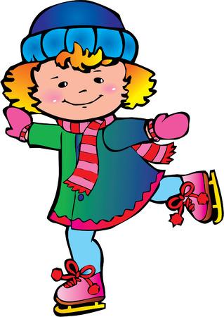 Cute little girl ice skater.  Happy childhood. Vector art-illustration. Vector