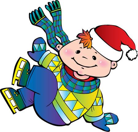 tracksuit: Cute little boy ice skater.  Happy childhood. Vector art-illustration. Illustration