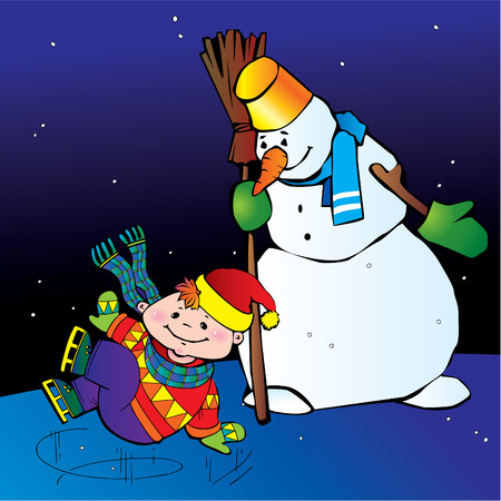 Boy ice skater with snowman.  Happy childhood. Vector art-illustration. Vector