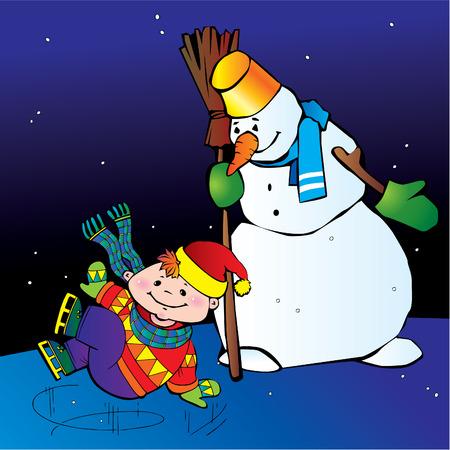 Boy ice skater with snowman.  Happy childhood. Vector art-illustration. Stock Vector - 6117757