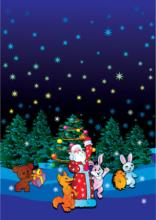 Santa Claus with animals.  Vector art-illustration for Christmas and New Year. Vector