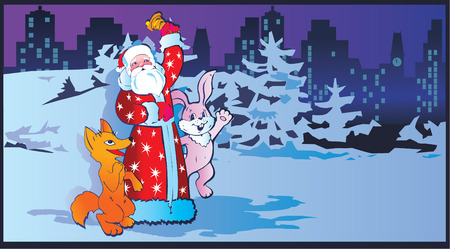 Santa Claus with animals.  Vector art-illustration for Christmas and New Year. Stock Vector - 6117760