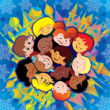 Bambini felici di diverse nazionalità giocano insieme a Natale. Arte-illustrazione vettoriale.