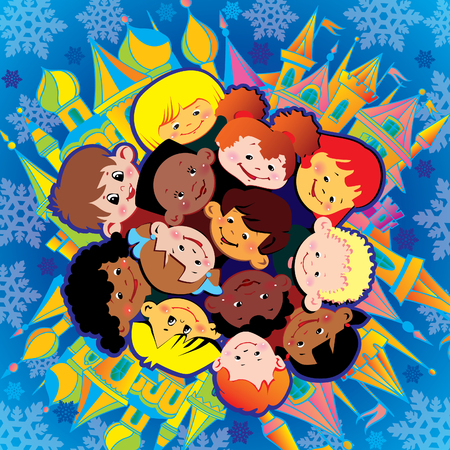 Happy children of different nationalities play together at Christmas. Vector art-illustration.