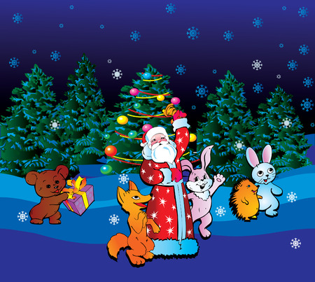 Santa Claus with animals.  Vector art-illustration for Christmas and New Year. Stock Vector - 6117755