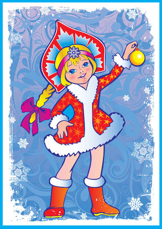 Beautiful girl with snowflakes and toys. Vector art-illustration for Christmas and New Year. Vector
