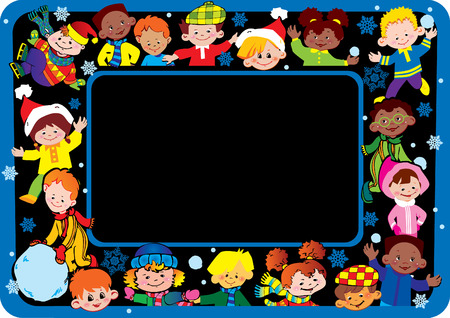 Happy children of different nationalities play together at Christmas. Vector art-illustration. Vector