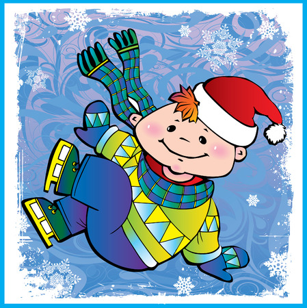 Christmas postcard with cute little  boy  ice skater. Vector art-illustration. Vector