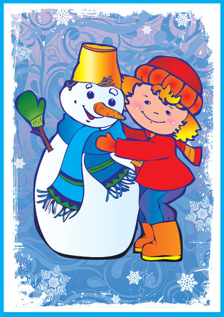 Christmas postcard. Cute little girl making snowman. Happy childhood. Vector art-illustration. Vector