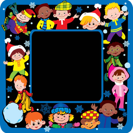 Happy children of different nationalities play together at Christmas.  Vector