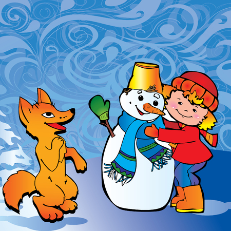 Cute little girl with snowman and fox. Happy childhood.  Vector