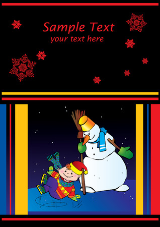 Boy ice skater with snowman. Place for sample text. Stock Vector - 6134908