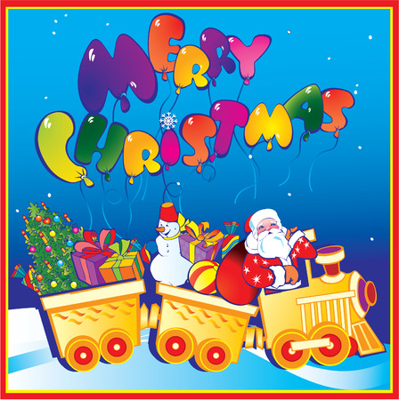 Santa Claus on a train with Christmas gifts.  Vector