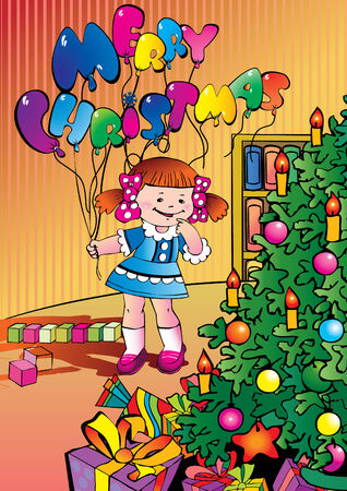 Beautiful girl with balloons and Christmas gifts. Vector