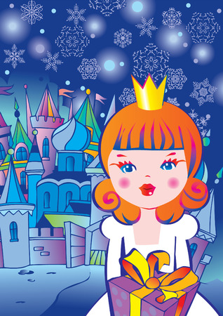 Beautiful princess with gift.  Fairy-tale. Vector