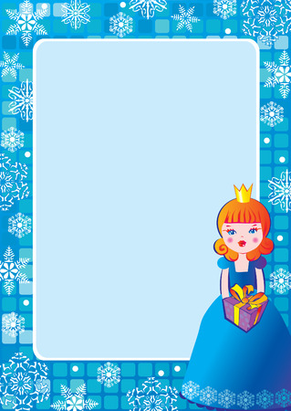Girl with gift. Place for sample text. Vector