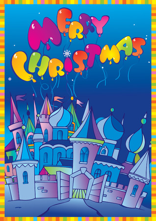 Christmas postcard with winter town.  Vector