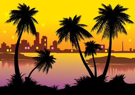 palmtrees: Paisaje urbano con palmeras. Vector de arte-ilustraci�n.