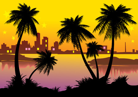 Urban landscape with palm-trees. Vector art-illustration. Vector