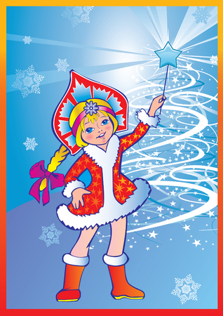 Beautiful girl with snowflakes and a magic wand. Vector art-illustration for Christmas and New Year. Vector