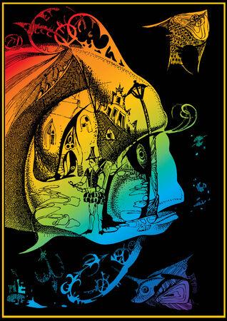 Fairy-tale fish. Vector art-illustration on a black background. Vector