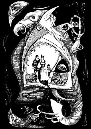 Fairy-tale animals. art-illustration on a black background. Vector