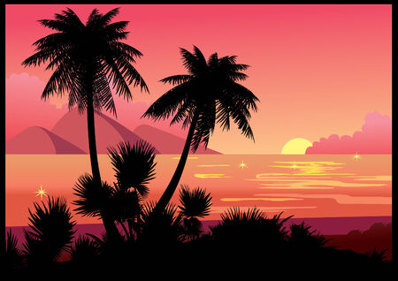 Silhouettes of palms on a sea background.art-illustration. Stock Vector - 6365612