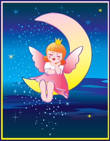 The Princess is sleeping on the moon. Fairy-tale. Vector art-illustration.