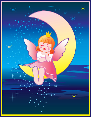 The Princess is sleeping on the moon. Fairy-tale. Vector art-illustration. Vector