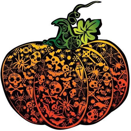 spinnennetz: Halloween K�rbis.  Kunst-Illustration auf einem wei�en Hintergrund. Illustration