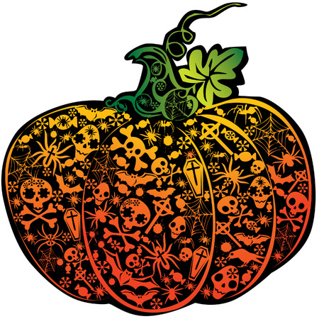 fearful: Halloween pumpkin.  art-illustration on a white background. Illustration