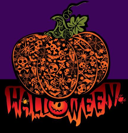 Halloween pumpkin.  art-illustration on a blue background. Stock Vector - 6471015