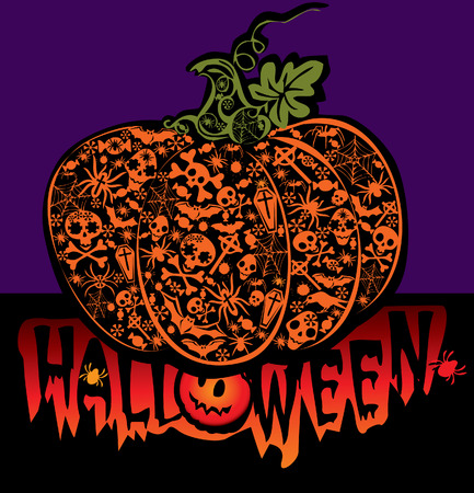 Halloween pumpkin.  art-illustration on a blue background. Vector